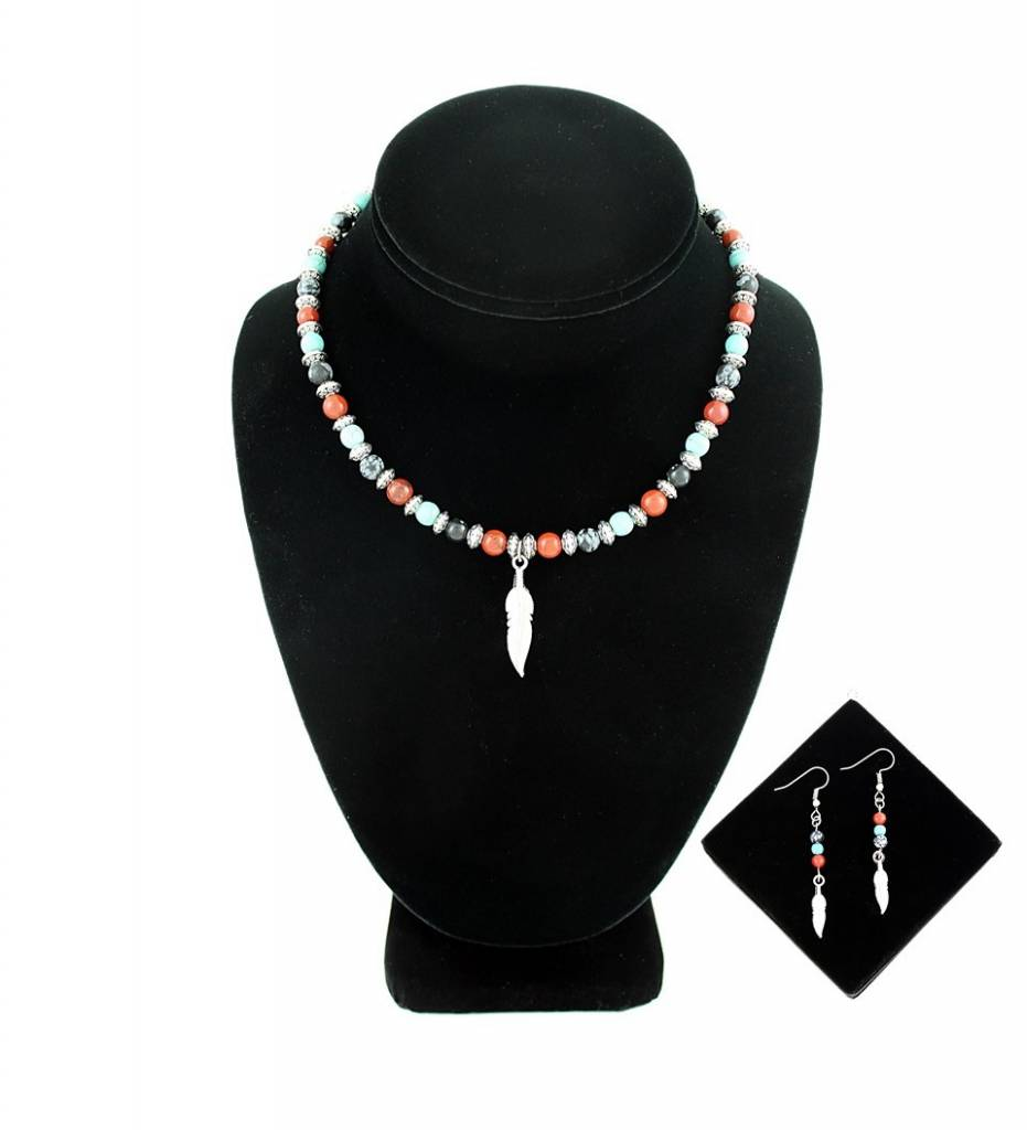 *BG Silver Feather Pendant & Multi Colored Beads NECKLACE & EARRINGS SET