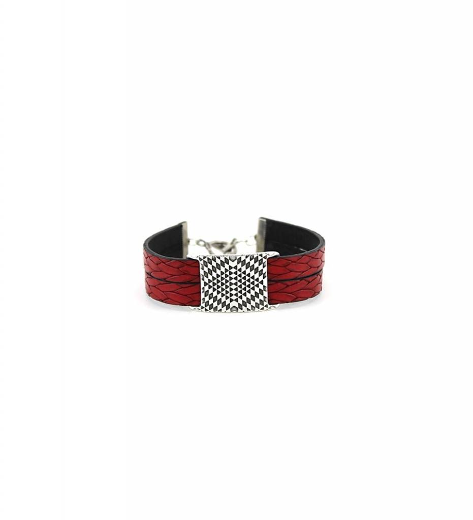 *JM Silver Diamond Pattern Charm with Double Red Leather BRACELET