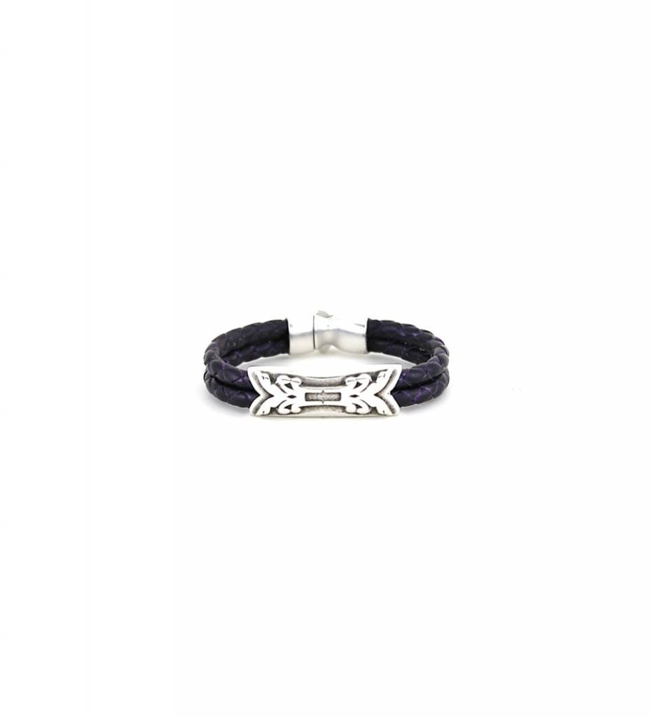 *JM Silver Charm with Purple Double Braided Leather BRACELET