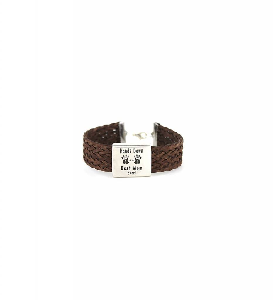 "*JM Silver ""Hands Down Best Mom Ever!"" Charm with Brown Braided Leather BRACELET"