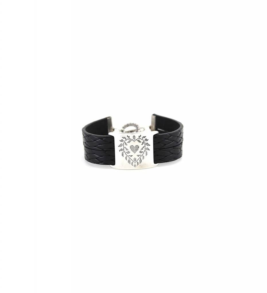 *JM Silver Heart Design Charm with Black Double Flat Leather BRACELET