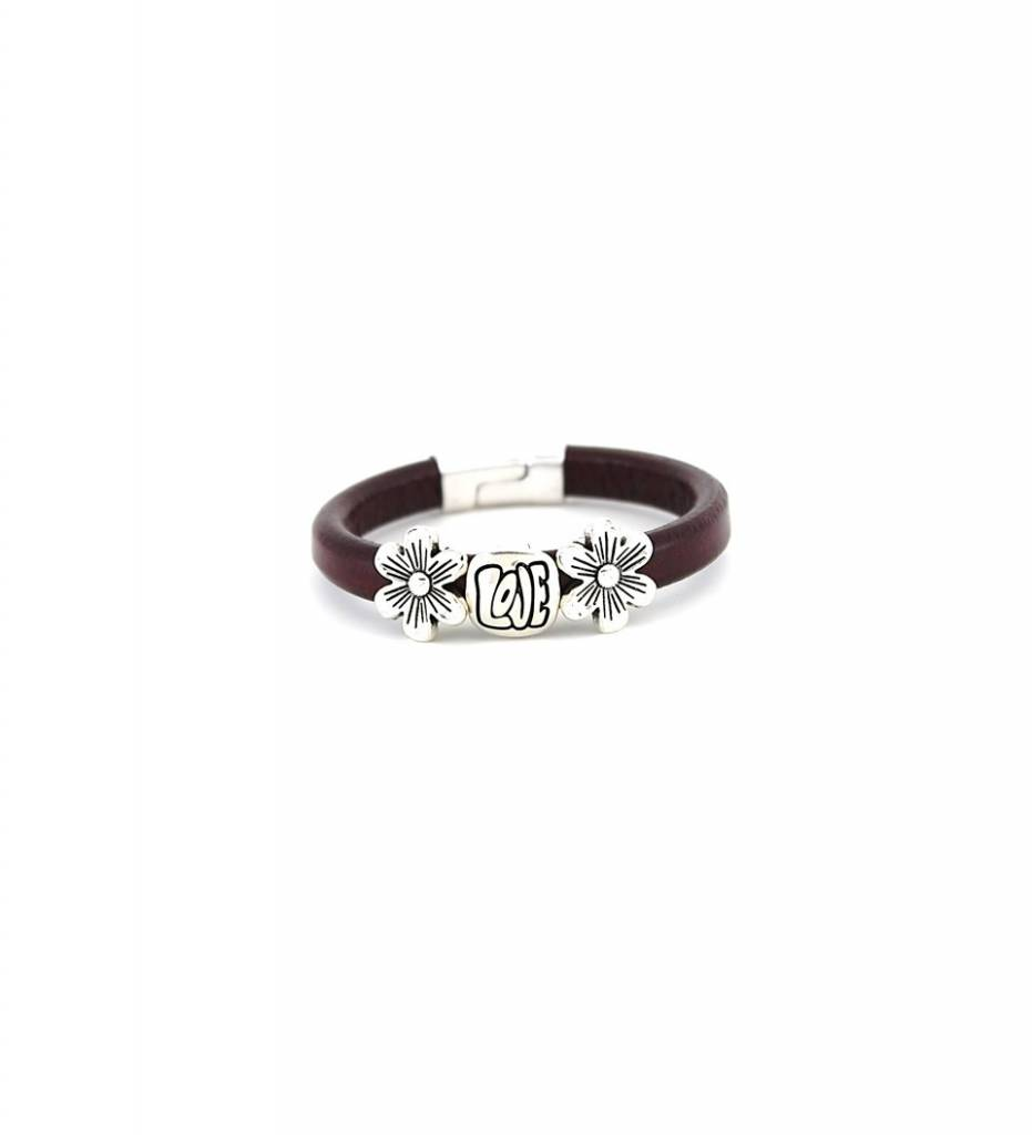 "*JM Silver ""LOVE"" & ""FLOWER"" Charms with Maroon Leather BRACELET"