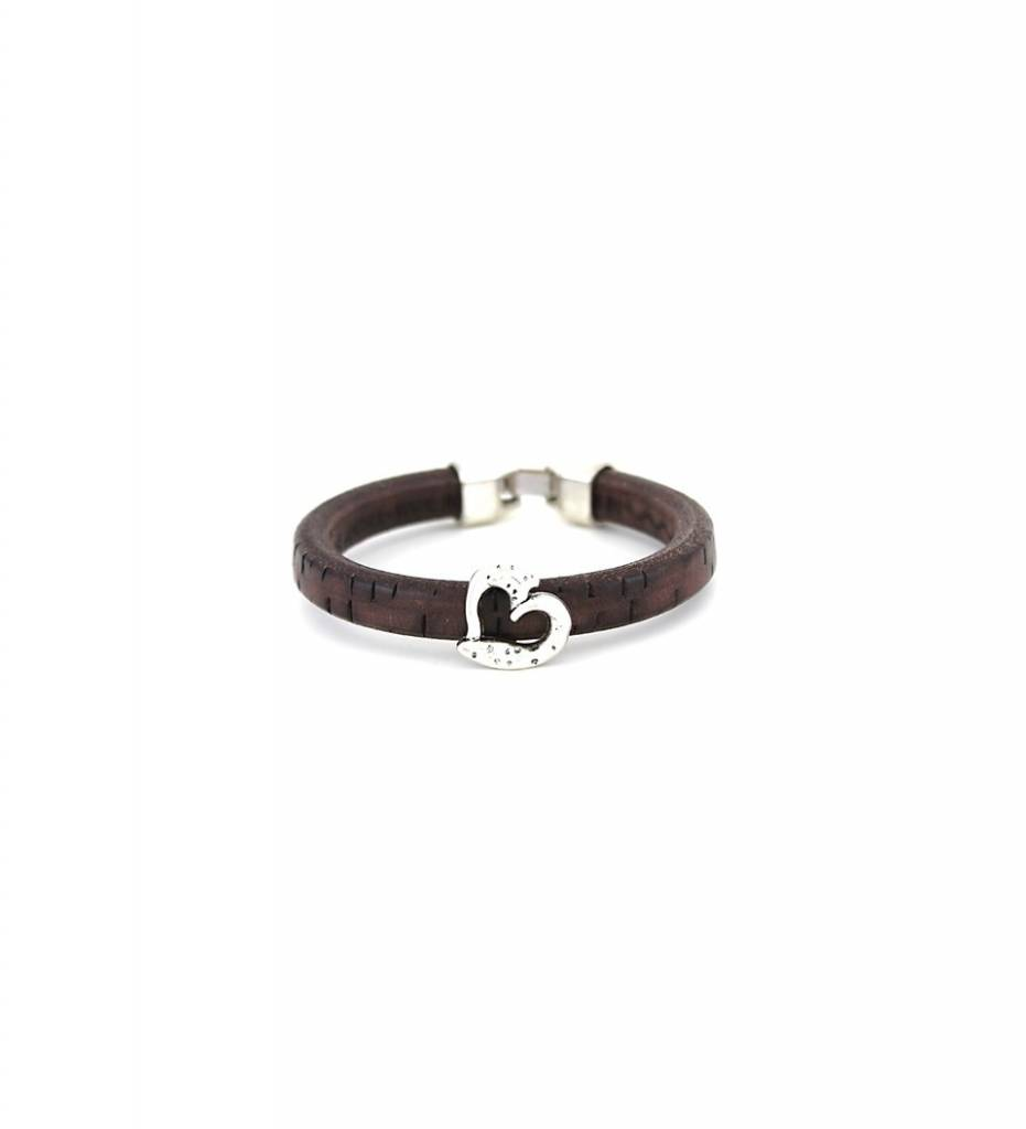 *JM Silver Heart Charm with Brown Leather BRACELET