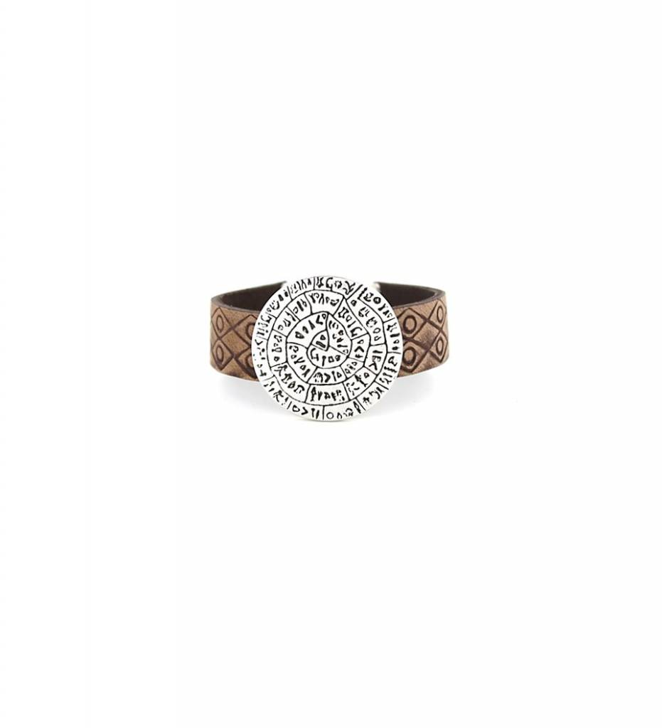 *JM Silver Round Symbolic Charm with Brown Flat Designed Leather BRACELET