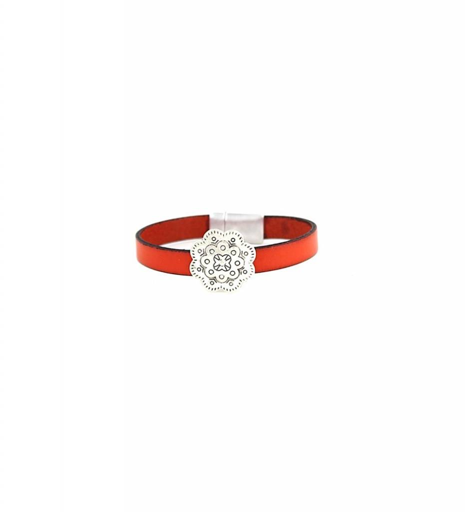 *JM Silver Designed Flower Charm with Orange Leather Medium BRACELET