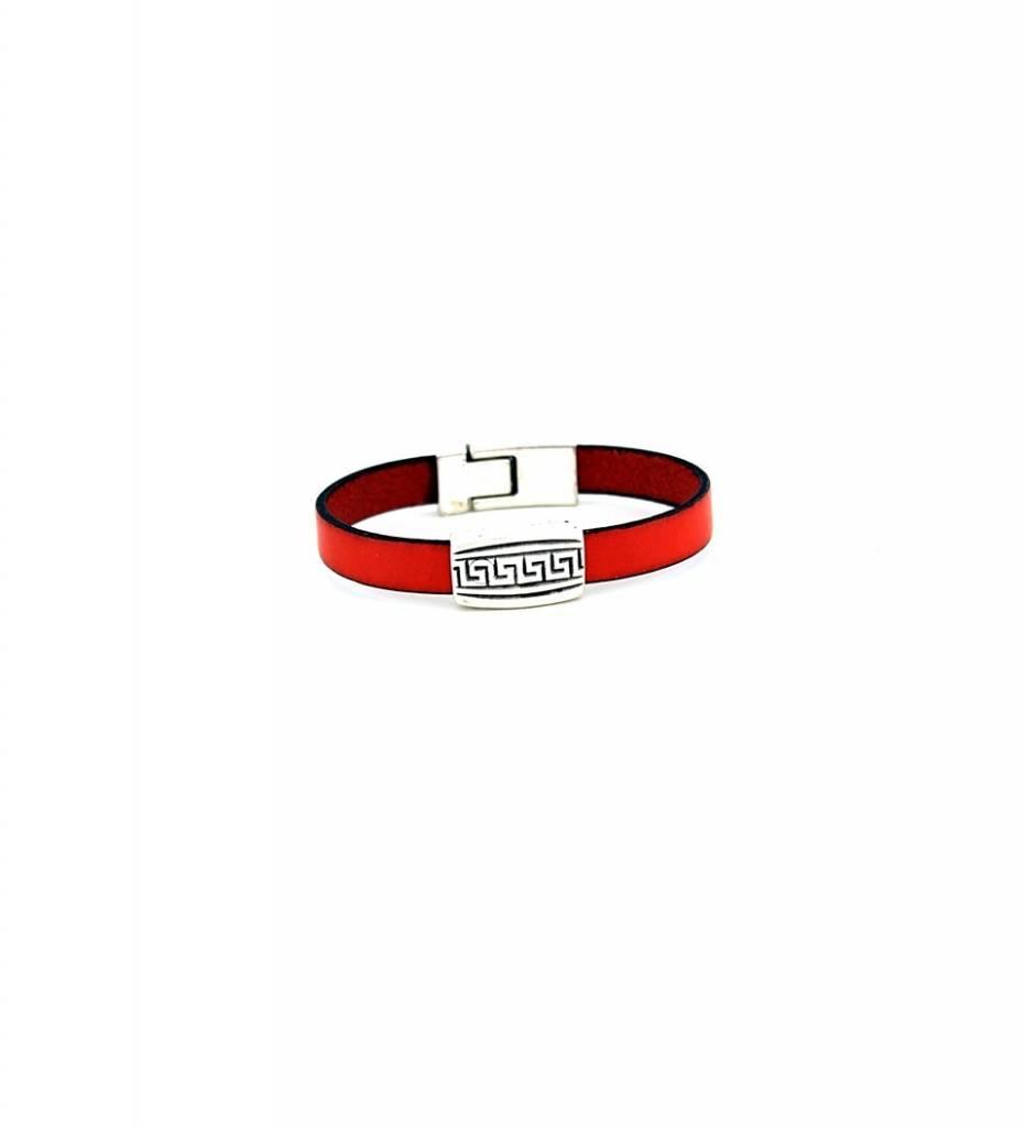 *JM Silver Designed Charm with Orange Flat Leather Medium BRACELET