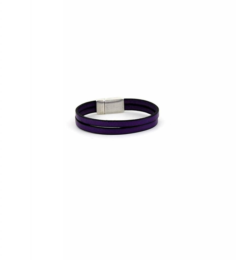 *JM Purple Double Flat Leather with Silver Latch Medium BRACELET