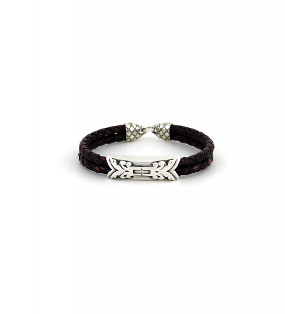 *JM Silver Charm with Brown Double Braided BRACELET
