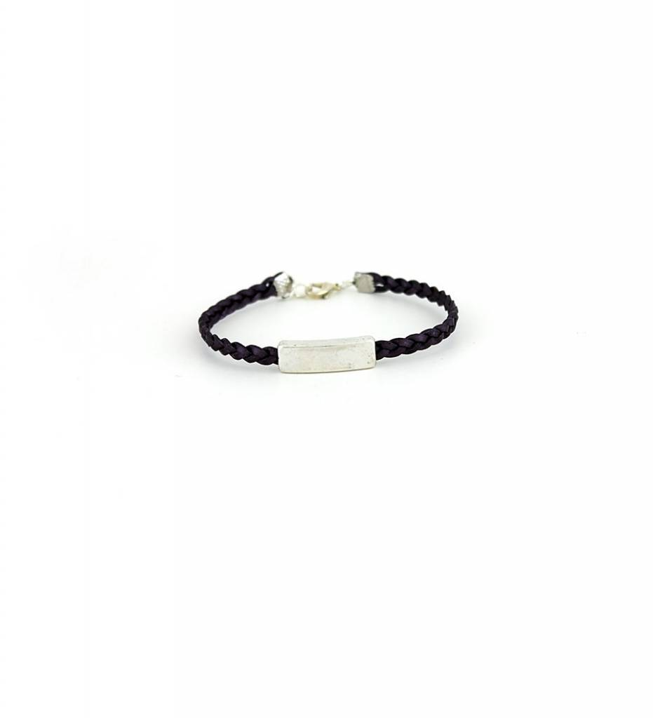 *JM Silver Charm with Purple Braided Leather Small BRACELET