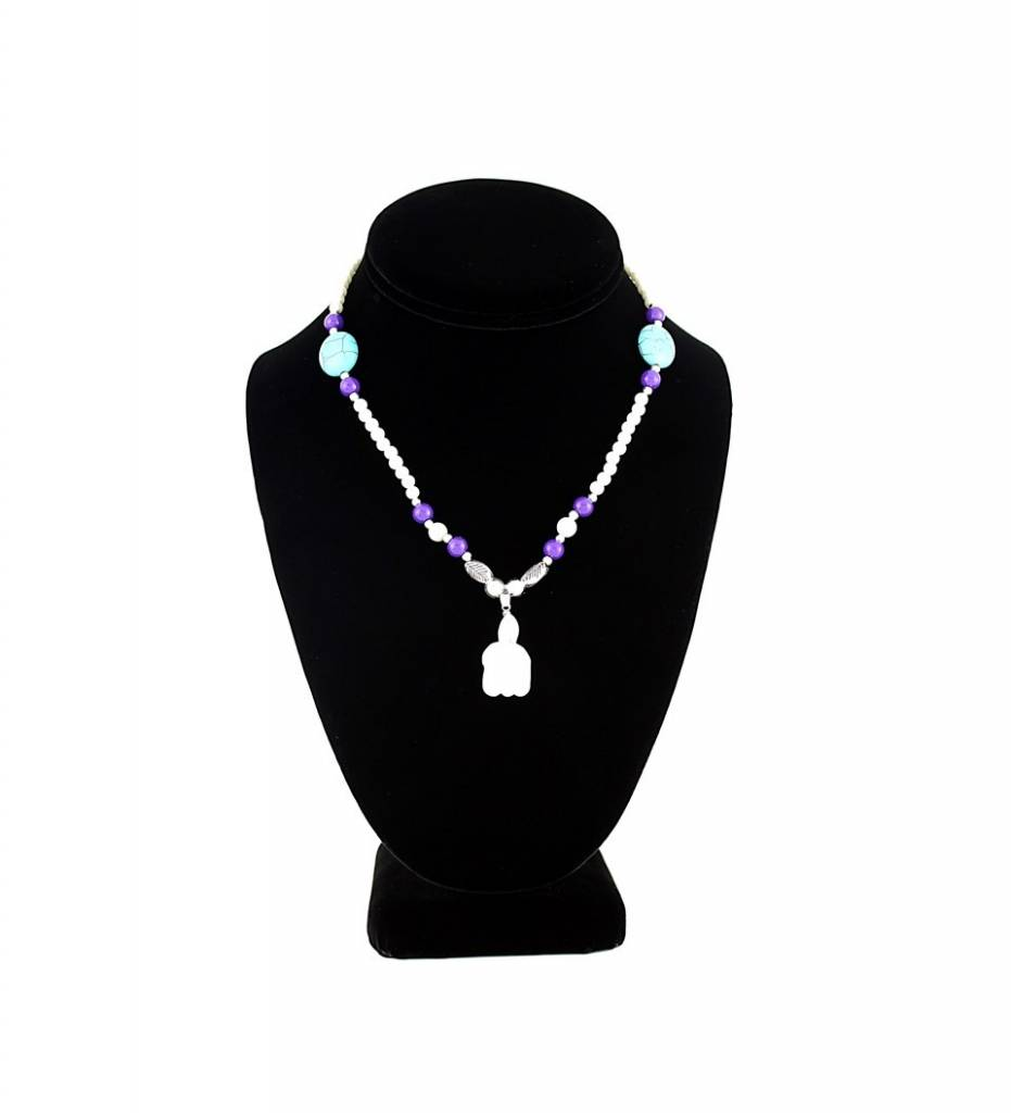 SL White Turtle Pendant with Pearl & Purple Beads NECKLACE