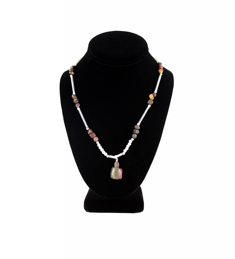 SL Multi Color Turtle Pendant with Pearl & Brown Beads NECKLACE