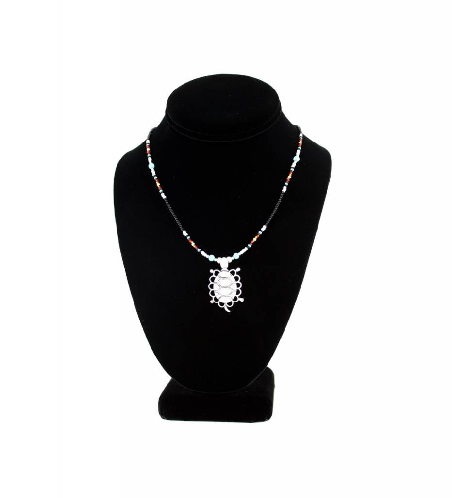 SL Silver Turtle Pendant with Multi Colored Beads NECKLACE