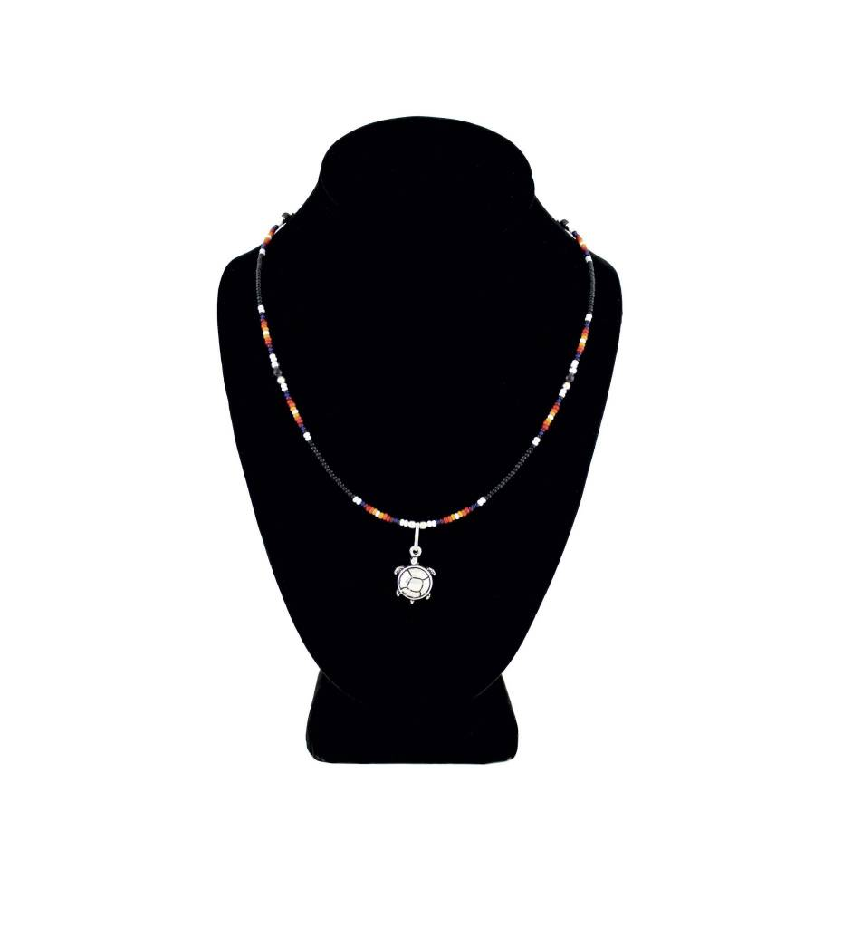 SL Silver Turtle Pendant with Assorted Colored Beads NECKLACE