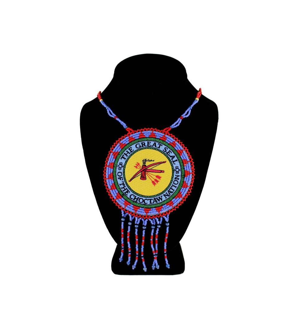 "SL ""THE GREAT SEAL OF THE CHOCTAW NATION"" Medallion with Red & Light Blue Beads NECKLACE"