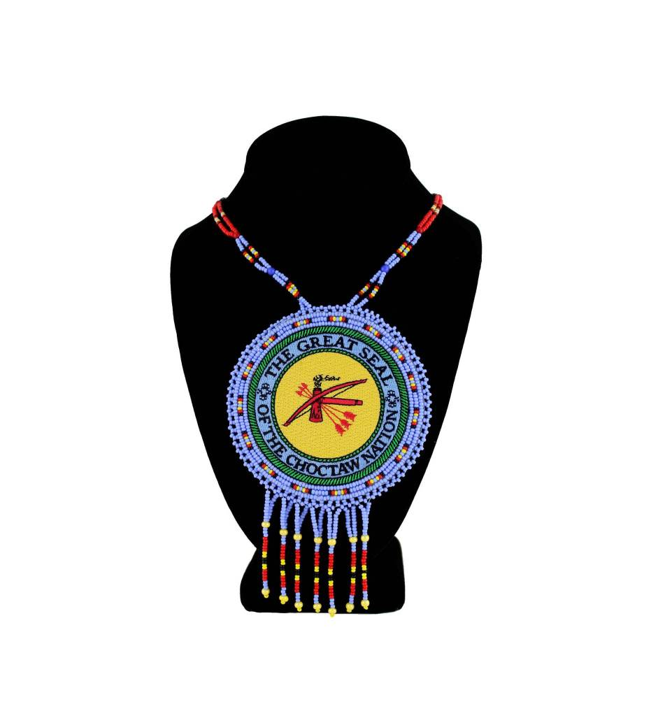 "SL ""THE GREAT SEAL OF THE CHOCTAW NATION"" Medallion with Light Blue / Yellow / Red Beads NECKLACE"