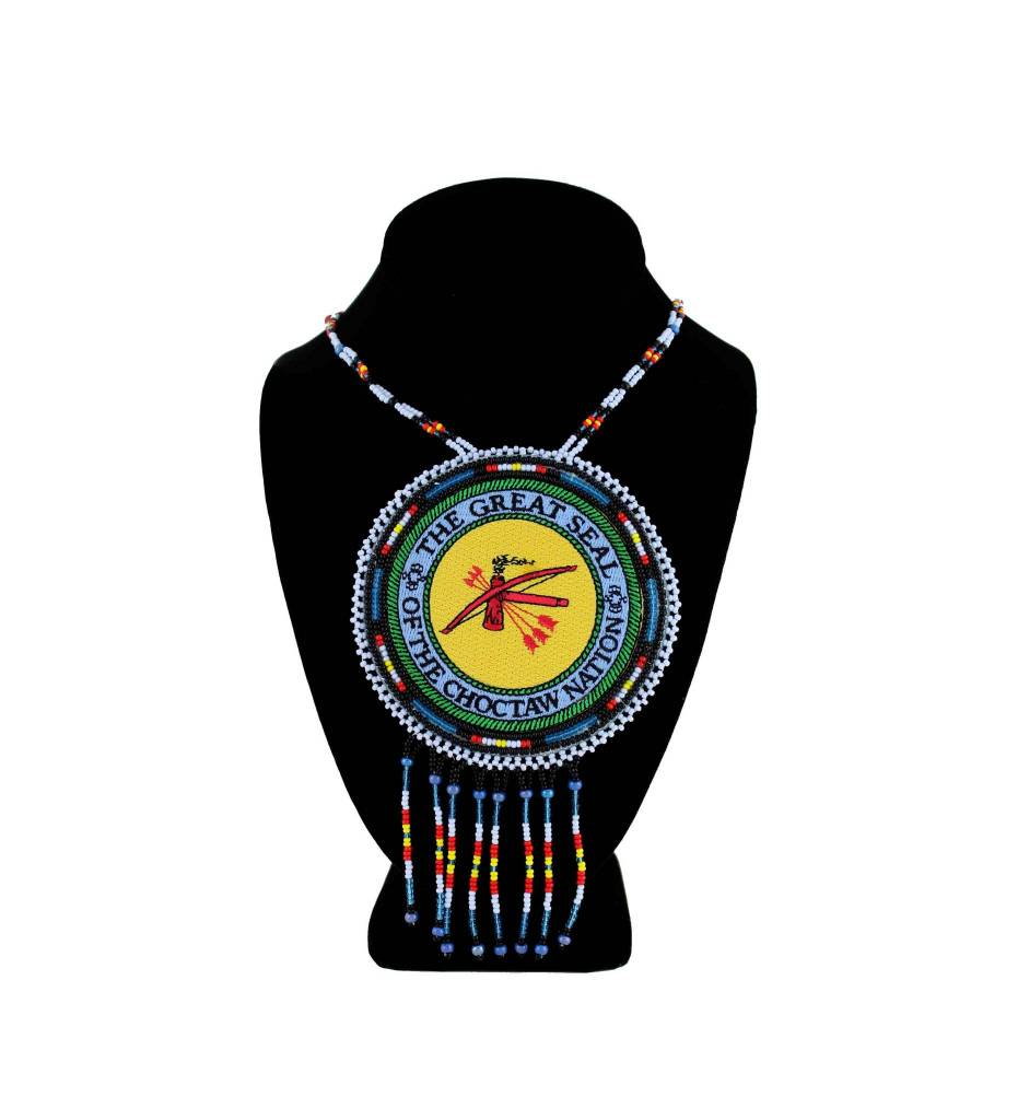 "SL ""THE GREAT SEAL OF THE CHOCTAW NATION"" Medallion with Medium Blue & Assorted Colored Beads NECKLACE"
