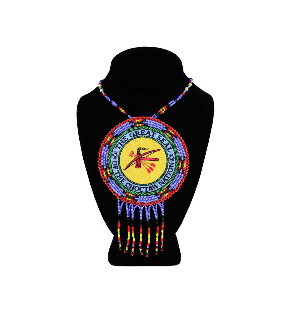 "SL ""THE GREAT SEAL OF THE CHOCTAW NATION"" Medallion with Red / Black / Blue / Yellow Beads NECKLACE"