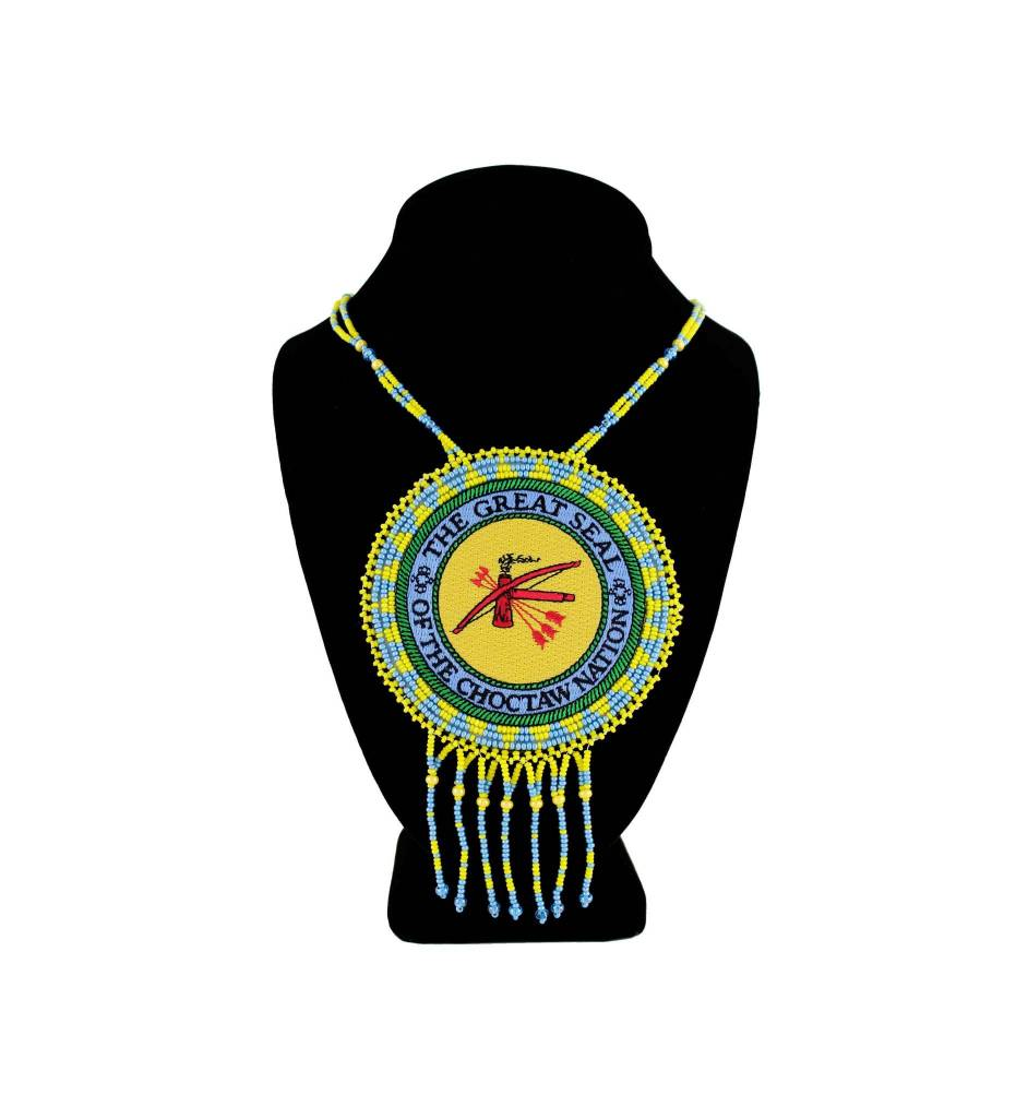"""SL """"THE GREAT SEAL OF THE CHOCTAW NATION"""" Medallion with Light Blue & Yellow Beads NECKLACE"""