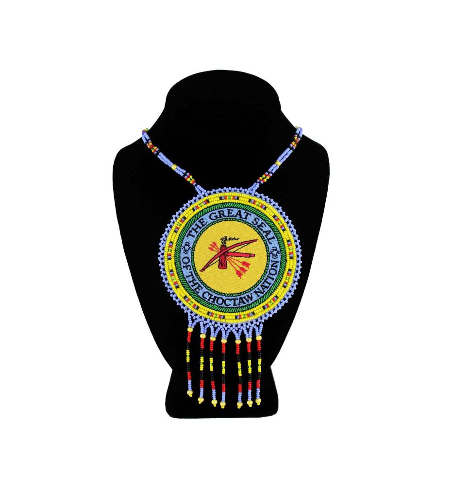 "SL ""THE GREAT SEAL OF THE CHOCTAW NATION"" Medallion with Light Blue & Yellow Beads NECKLACE"