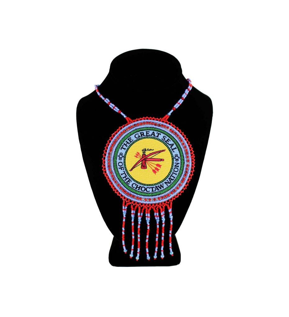 "SL ""THE GREAT SEAL OF THE CHOCTAW NATION"" Medallion with Red & Blue Beads NECKLACE"