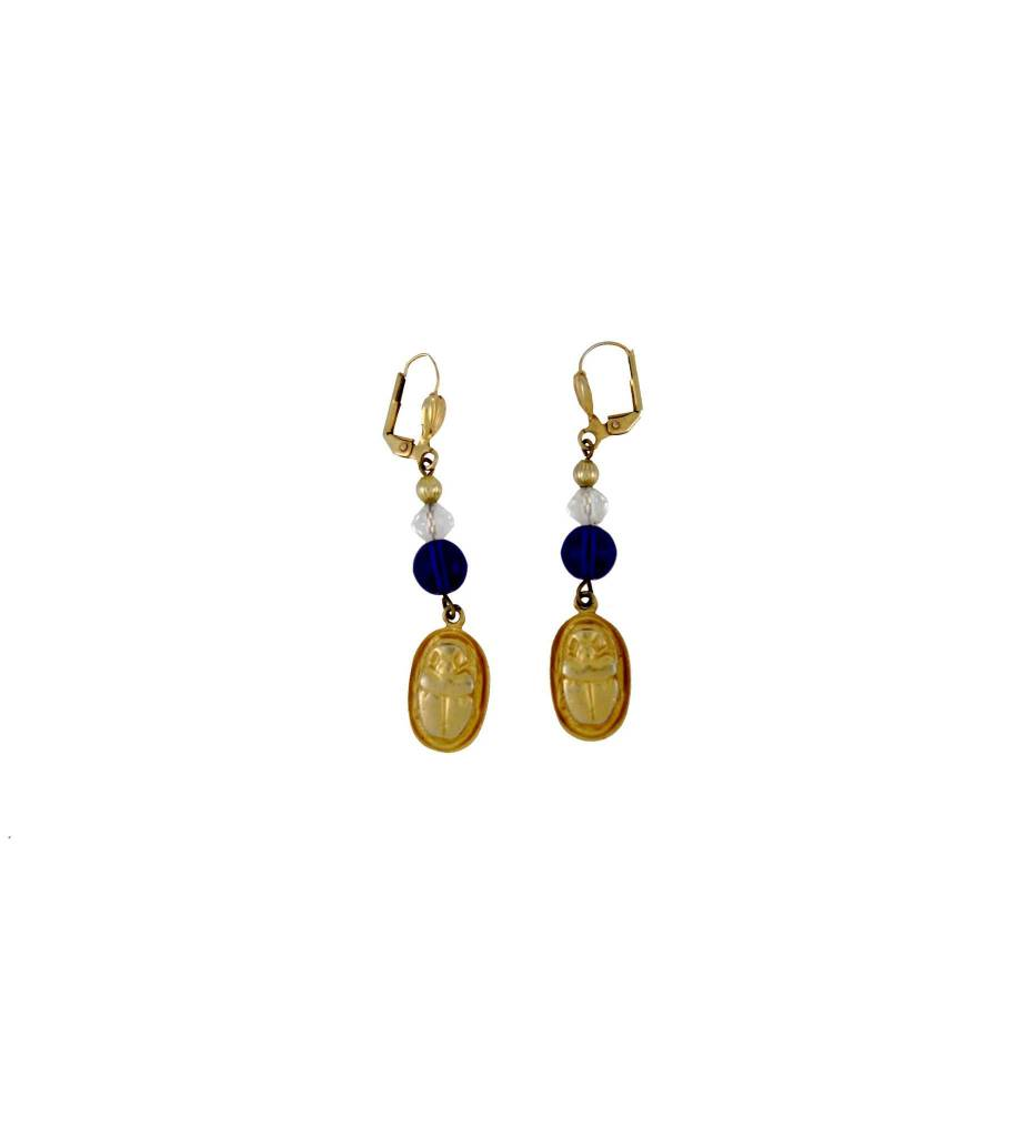 *TS Blue Crystal & Gold Scarab Earrings