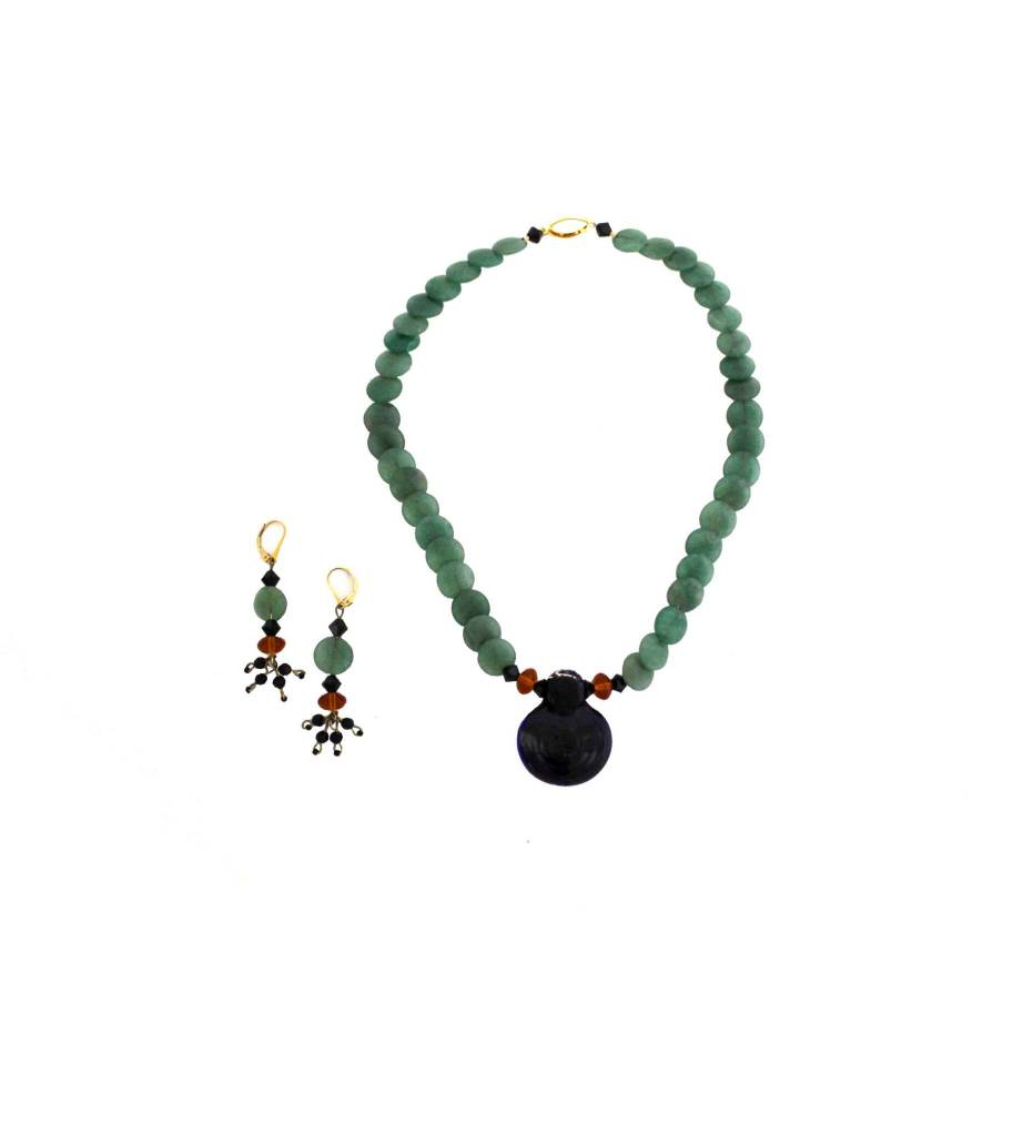 *TS Dark Green Glass Pendant with Green Beaded Necklace & Earrings Set