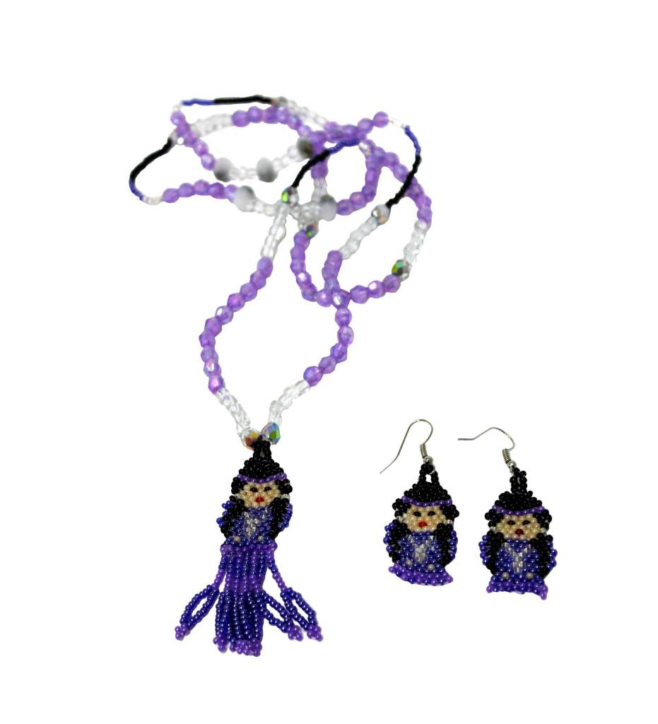 Choctaw Beads: BT Purple Beaded Indian Doll Necklace & Earrings SET