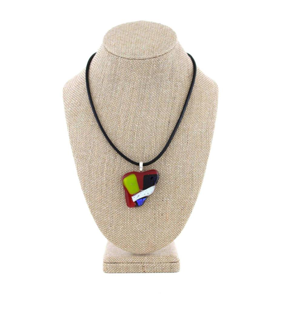 *AR Dichroic Pendant with Leather Necklace