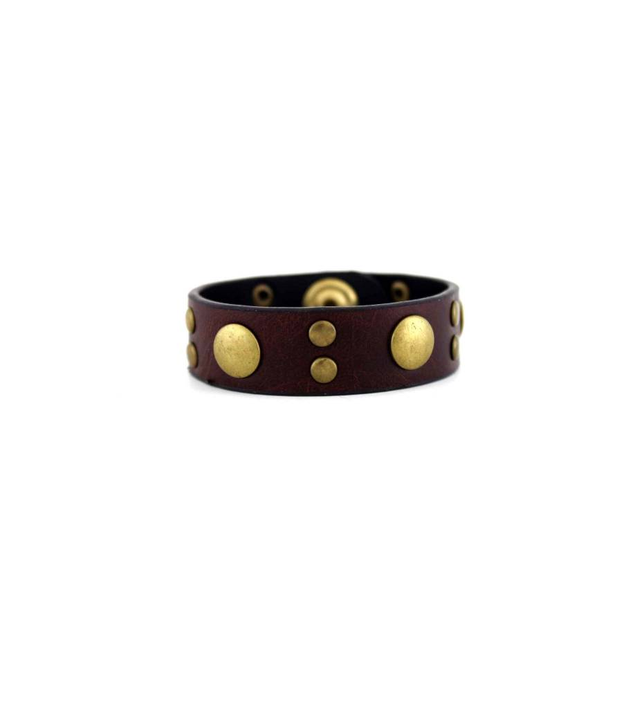 *GJ Fore-Worn Tooled Leather with Brass Studs BRACELET