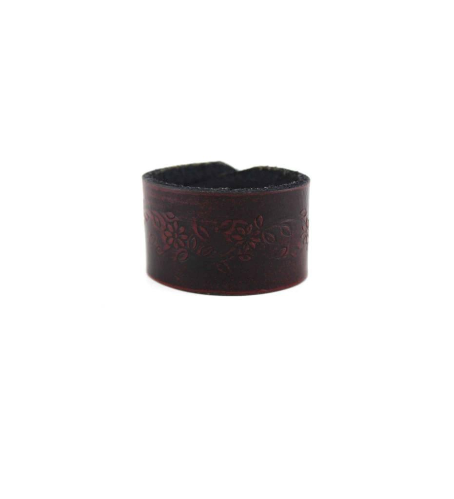 *GJ Fore-Worn Brown Leather Designed BRACELET