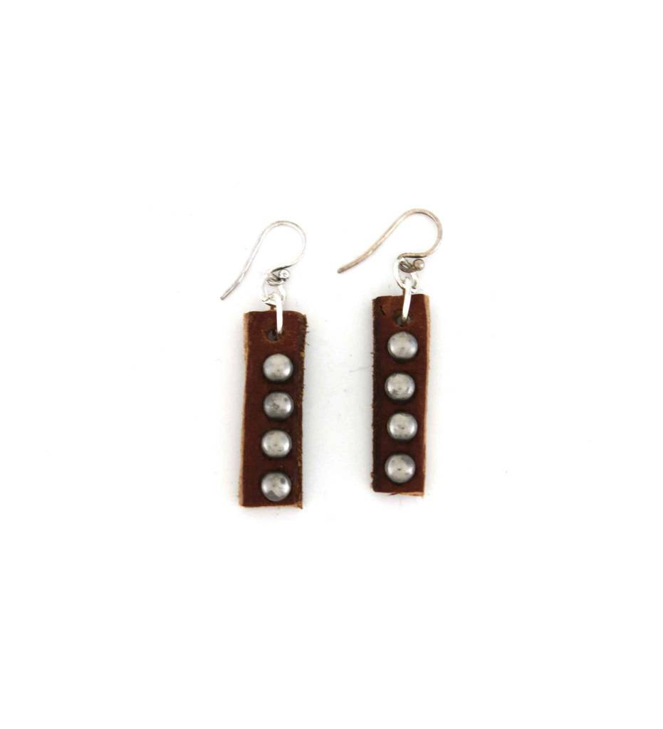 *GJ Leather with Silver Shot Bead EARRINGS