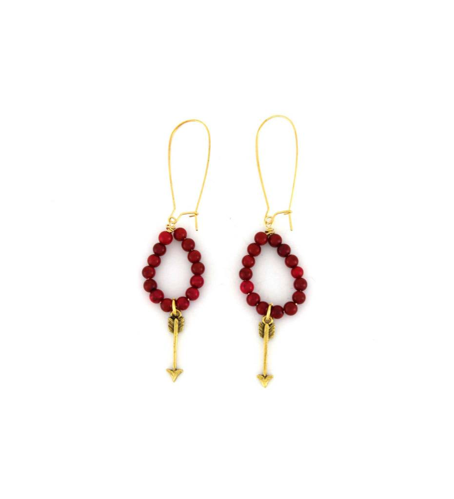 *GJ Red Bead with Gold Arrow EARRINGS