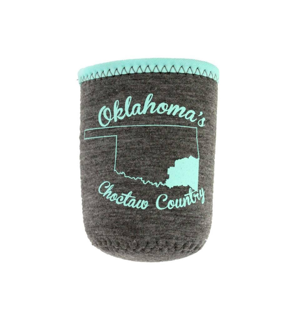 Oklahoma's Choctaw Country Koozie (Grey Jersey & Aqua)