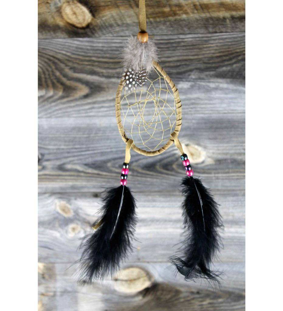 *JS Oval Shape Dream Catcher with Plume Fringes 3 X 5 1/2