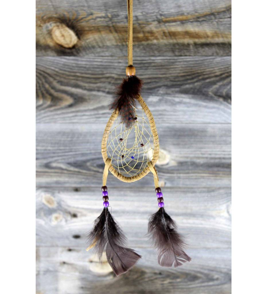*JS Teardrop Dream Catcher with Plume Fringes 3 X 5 1/2