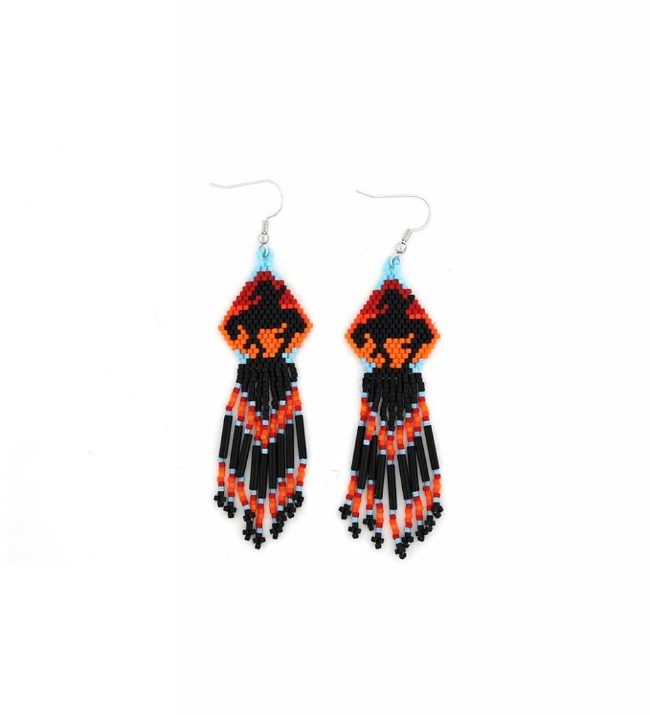 *TMC End Of Trail Design Beaded EARRINGS