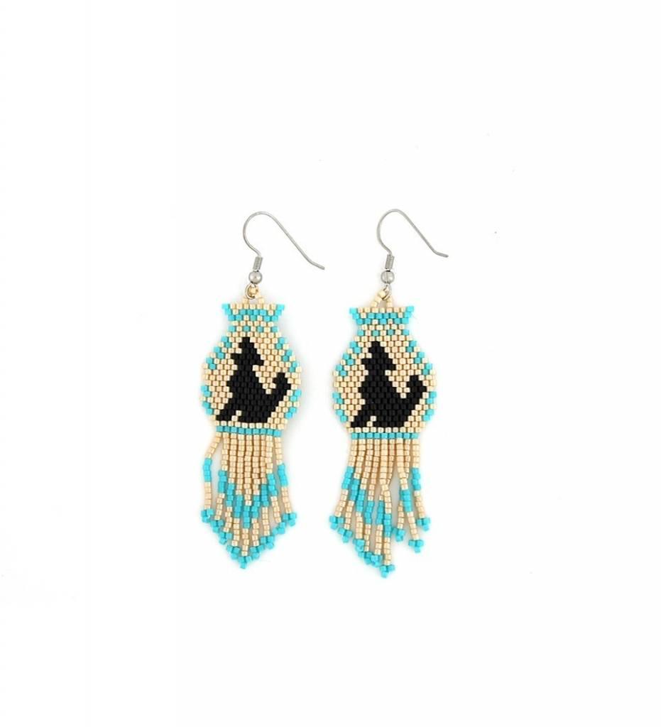 *TMC Beige & Turquoise Beaded Coyote Design EARRINGS