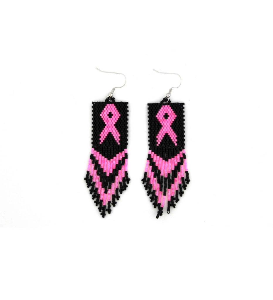 *TMC Black & Pink Cancer Bow Beaded EARRINGS