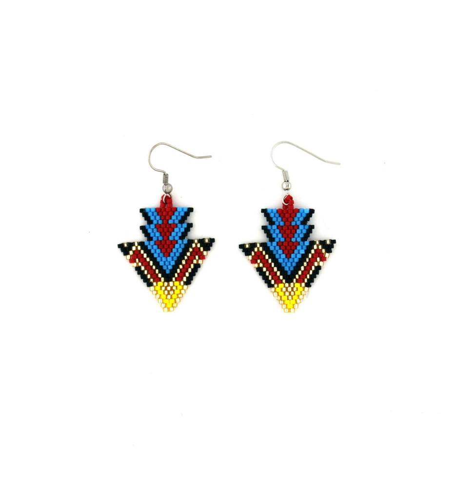 *TMC Red, Blue, Black & Gold Beaded Arrow Design EARRINGS