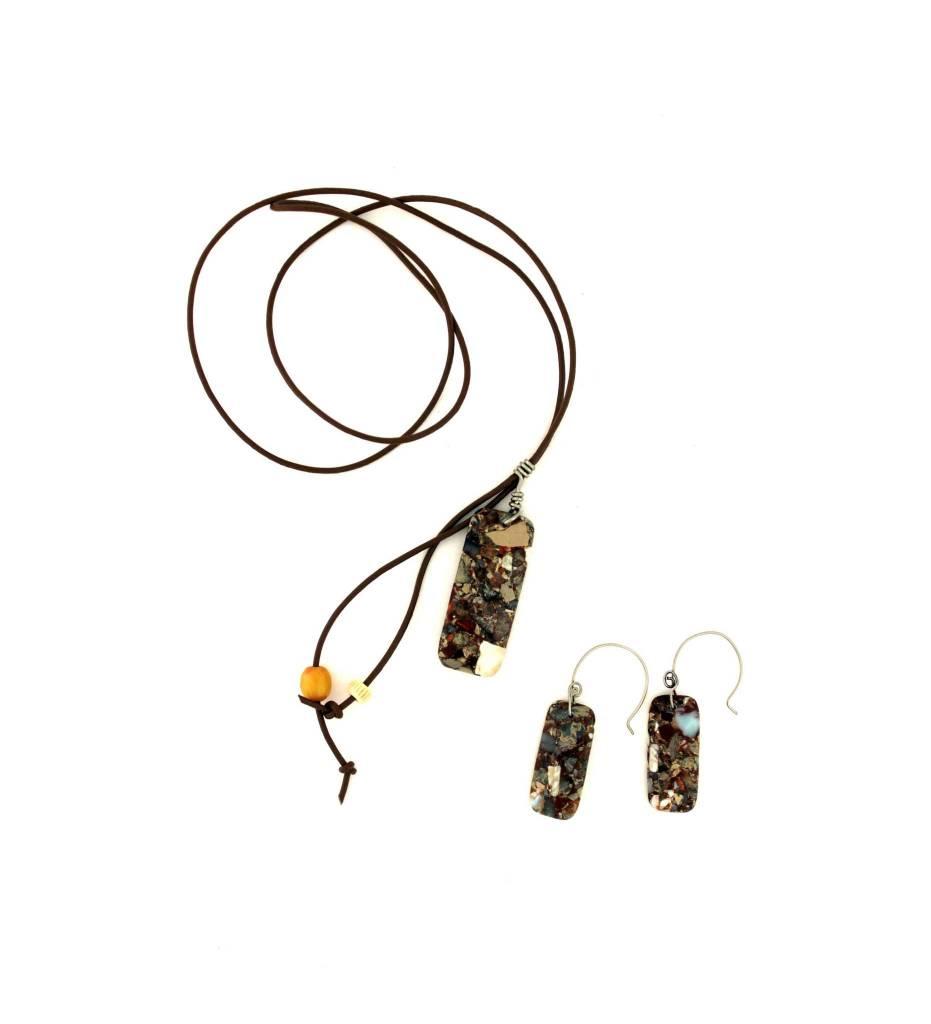 *JA Brown Stone Pendant Necklace & Earrings Set