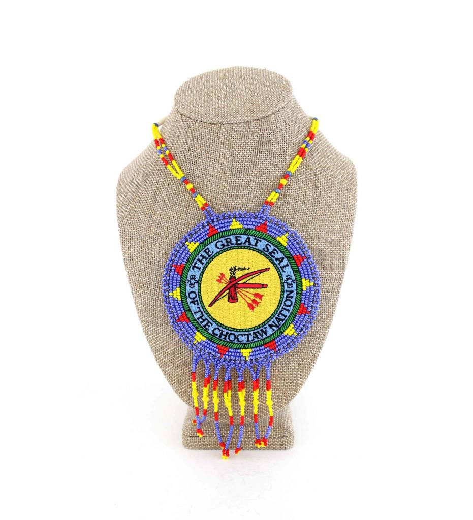 "SL ""THE GREAT SEAL OF THE CHOCTAW NATION"" Medallion with Yellow & Assorted Colored Beads NECKLACE"