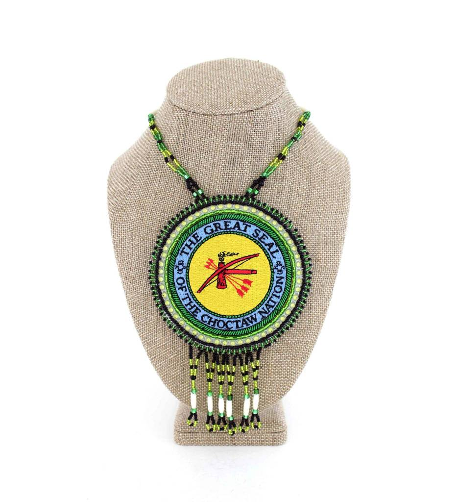 """SL """"THE GREAT SEAL OF THE CHOCTAW NATION"""" Medallion with Green & Black Colored Beads NECKLACE"""