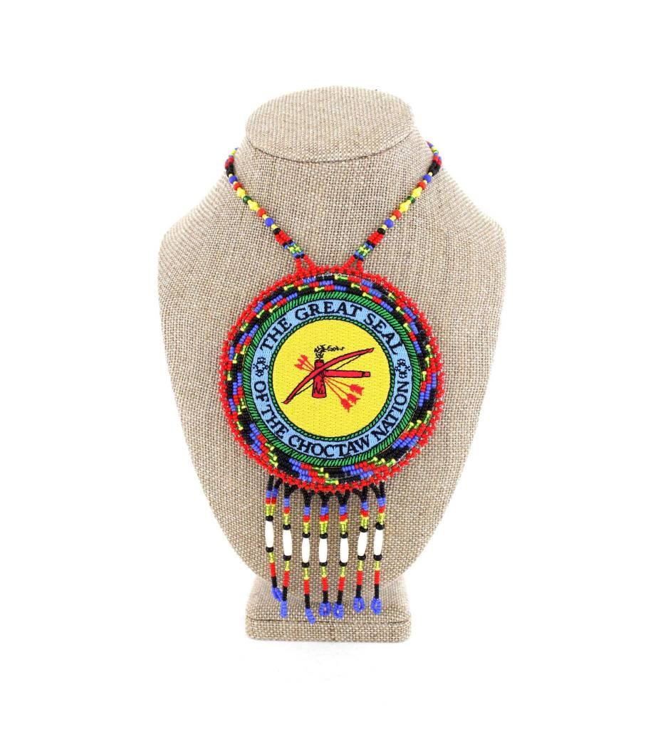 """SL """"THE GREAT SEAL OF THE CHOCTAW NATION"""" Medallion with Red, Blue & Assorted Colored Beads NECKLACE"""
