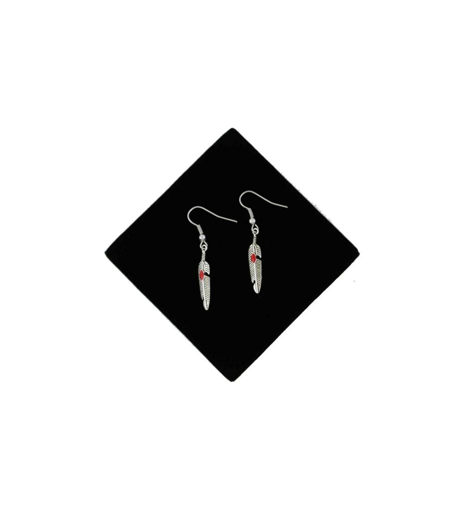 *BG Feather Earrings with Red Stone