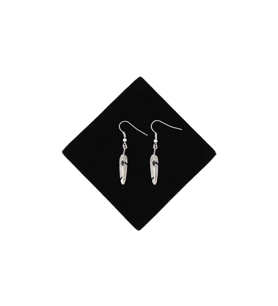 *BG Feather Earrings with Black Stone