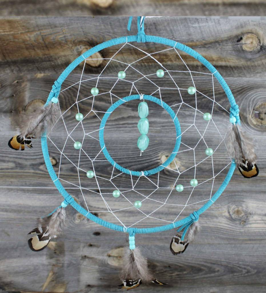 """*BD 10"""" & 4"""" Turquoise with White Web & Green Beads DREAMCATCHER"""