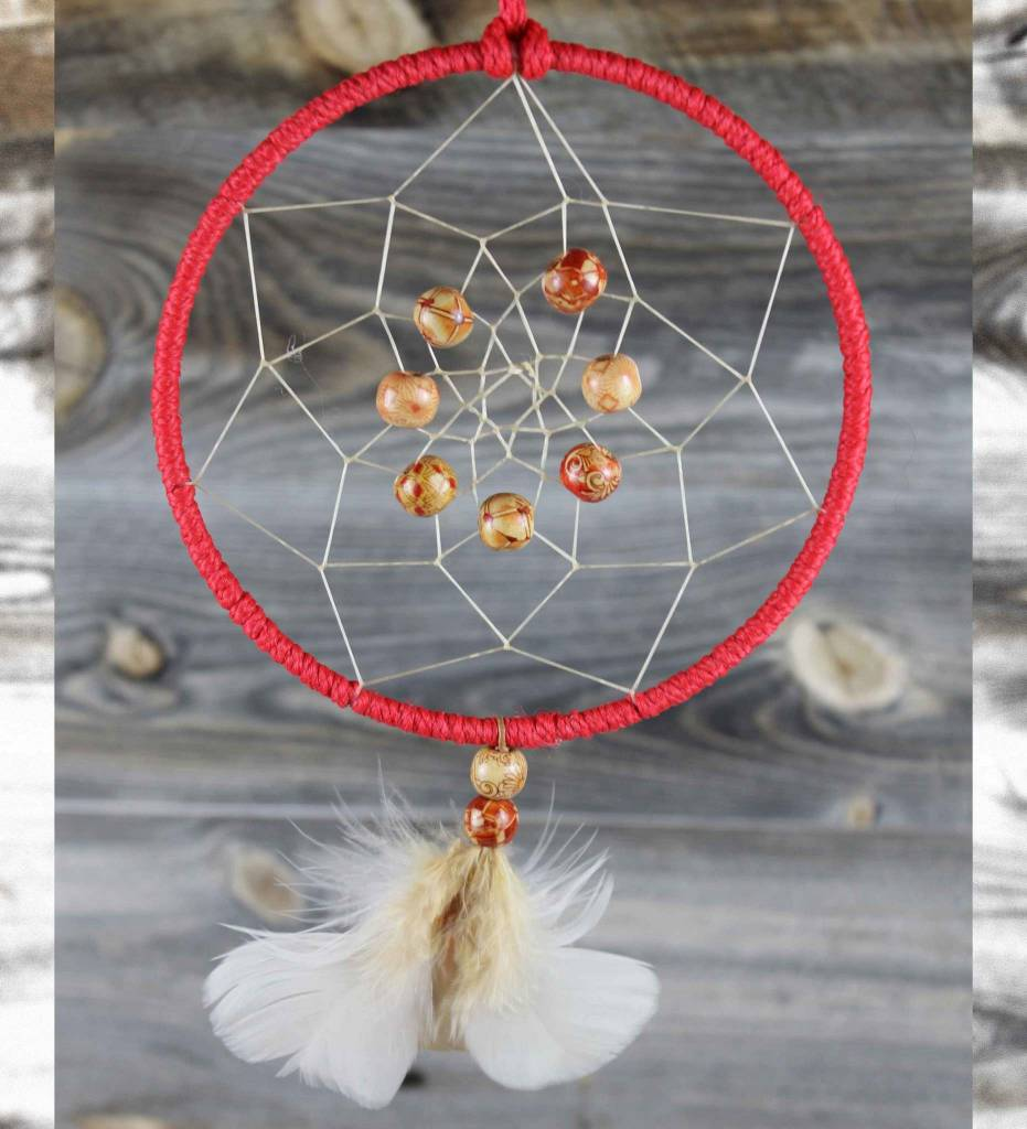 "*BD 6"" Red with Tan Web & Multi Colored Bead DREAMCATCHER"