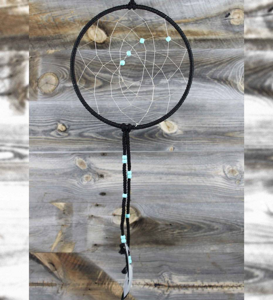"*BD 8"" Black with White Web & Turquoise Beads DREAMCATCHER"
