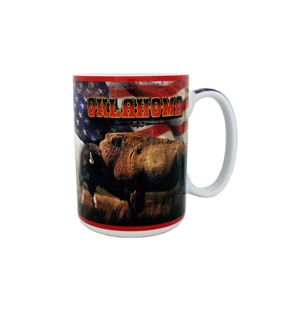 OKLAHOMA with BUFFALO & USA FLAG 16.OZ MUG