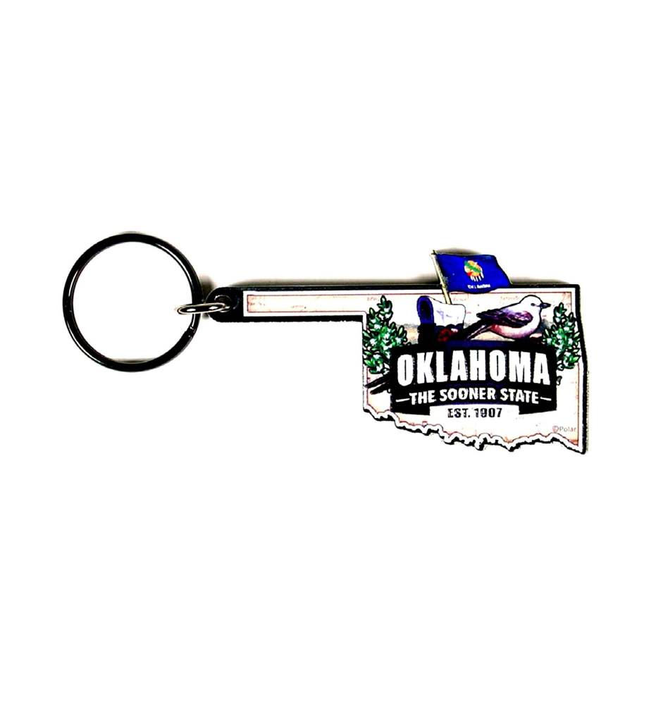 OKLAHOMA STATE MAP KEY RING